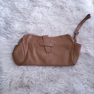 alberta di canio wristlet leather tan bagette bag